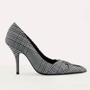 Maje FABPDG Draped Pumps in Prince of Wales Plaid